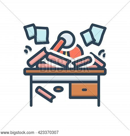 Color Illustration Icon For Disorganized Haphazard Scrappy Disorderly Straggling