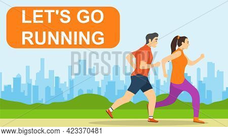Running People, Man And Woman Run Against The Background Of The Urban Landscape. Vector Illustration