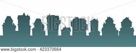 Town. Silhouette Of Cartoon Small Houses. Village Or City. Isolaterd, Seamless Street. Nice Cozy Pri