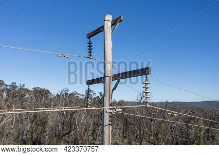 Drone Aerial Photograph Of A Telephone Pole And Wires In A Forest Affected By Bushfires