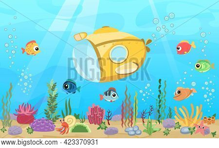 Bottom Of Reservoir With Fish. Yellow Submarine. Blue Water. Sea Ocean. Underwater Landscape With An