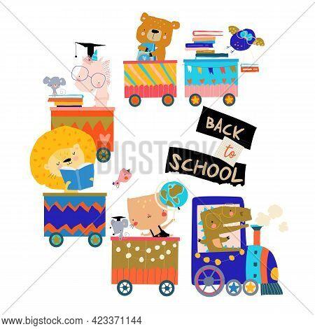 Happy Cartoon Animals Riding To The School By Train