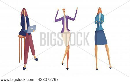Businesswoman In Formal Suit At Work Place Standing And Working With Laptop Vector Set