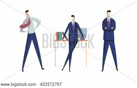 Business Executive Man Worker In Formal Suit And Tie At Work Place Standing With Folded Arms Achievi
