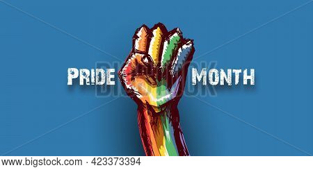 Happy Pride Month Horizontal Banner With Rised Lgbt Fist Colored In Lgbt Flag Isolated On Blue Backg