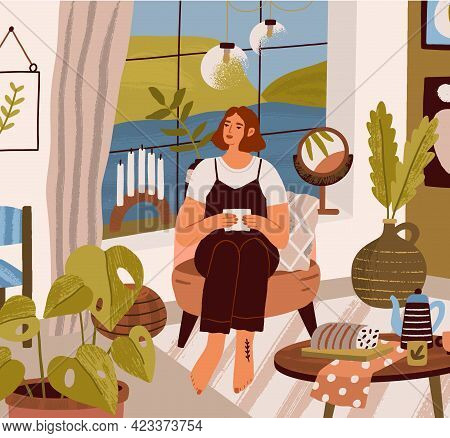 Young Woman Sitting And Relaxing In Armchair With Letter At Cozy Home. Female Character Resting In M