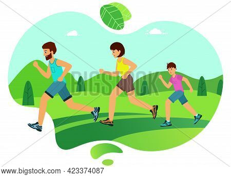 Happy Family On A Jogging. Father, Mother And Son Are Running Around In The Park.