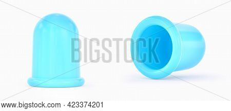 Silicone Anti-cellulite Bubble Massage Tool. Blue Massage Anticellulite Cup Isolated On White Backgr