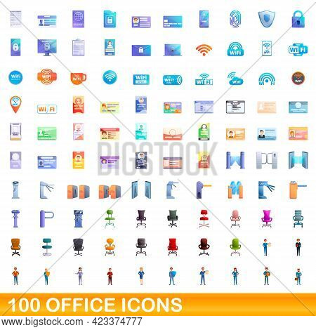 100 Office Icons Set. Cartoon Illustration Of 100 Office Icons Vector Set Isolated On White Backgrou