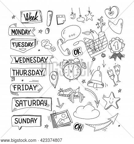 Stickers For Week Planner, Monday, Tuesday, Friday, Sunday. Doodle And Flat Design. Timetable Collec