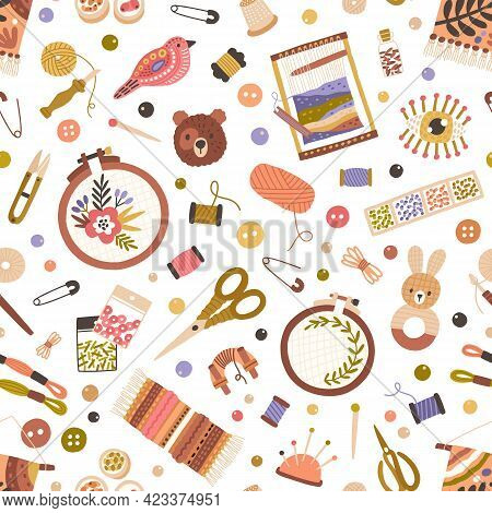 Seamless Pattern With Different Sewing And Embroidery Tools On White Background. Endless Repeating T
