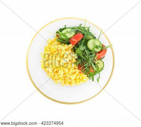 Tasty Scrambled Eggs With Garnish On White Background, Top View
