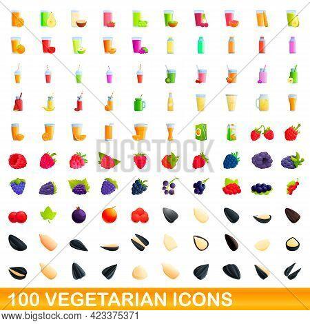 100 Vegetarian Icons Set. Cartoon Illustration Of 100 Vegetarian Icons Vector Set Isolated On White