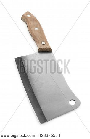 Large Sharp Cleaver Knife With Wooden Handle Isolated On White