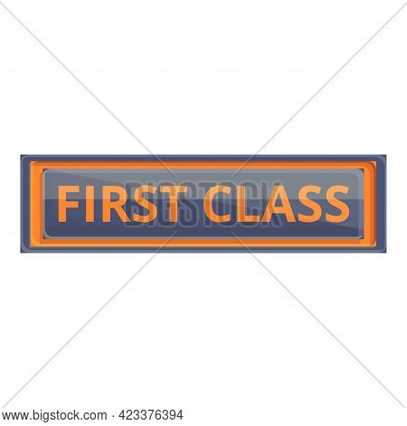 First Class Banner Icon. Cartoon Of First Class Banner Vector Icon For Web Design Isolated On White