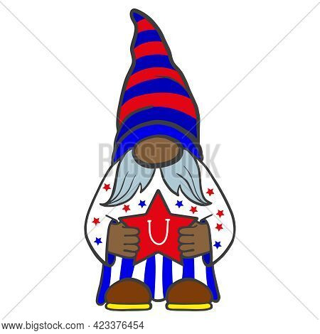 Vector Illustration Of The Patriot Dwarf Of America In July For A Festive Design. Americas Independe