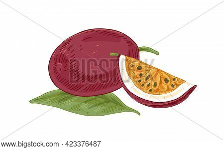 Ripe Whole Passion Fruit, Its Cut Juicy Fleshy Piece With Seeds. Fresh Sweet Passionfruits With Leaf