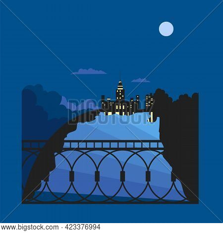 Night City. View Of The River From The Bridge. Vector Image Of A City On A Moonlit Night