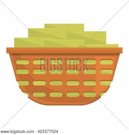Full Basket Anti-money Laundry Icon. Cartoon Of Full Basket Anti-money Laundry Vector Icon For Web D