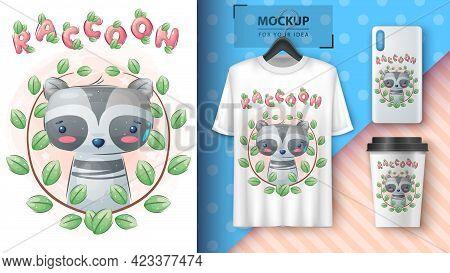 Raccoon In Flower - Poster And Merchandising. Vector Eps 10