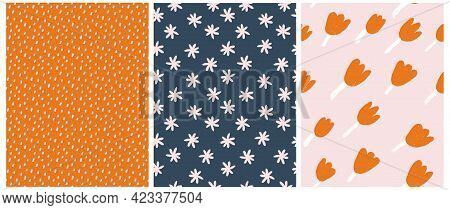 Cute Hand Drawn Floral And Geometric Seamless Vector Patterns. White Daisies And Organge Tulips Isol