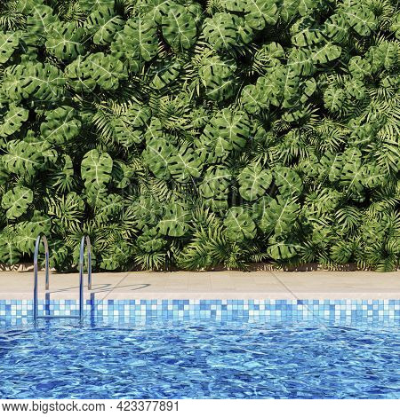 Swimming pool with azure water and green garden in the backyard of a luxury villa, 3D illustration, rendering.