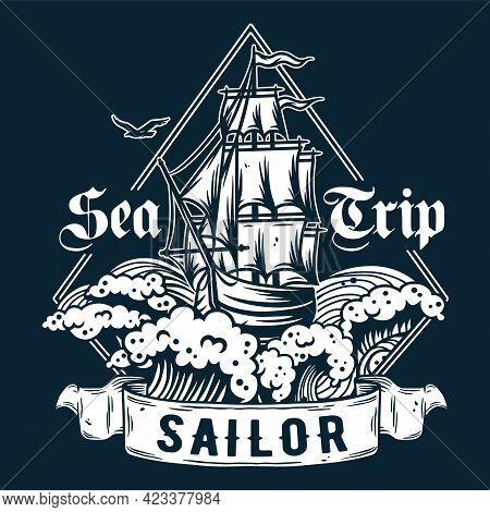 Ship For Sea Print. Marine Sailboat, Boat, Vessel