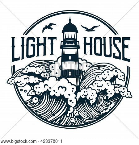 Lighthouse At Marine Wave. Sea Beacon For Print