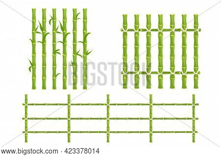 Set Green Bamboo Fence With Rope, Picket From Sticks, Nature Wall In Cartoon Style Isolated On White