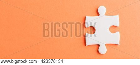 Top View Flat Lay Of One Paper Plain White Jigsaw Puzzle Game Last Pieces For Solve, Studio Shot On