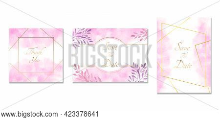 Wedding Invitation Cards. Set Of Cards With Watercolor Blots.invitation Cards With Pink And Purple T