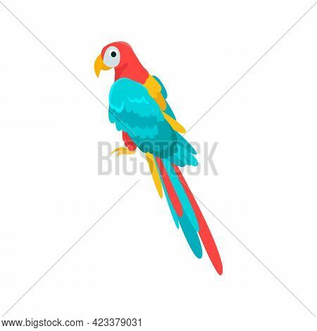 Parrot Flat Icon. Colored Vector Element From Birds Collection. Creative Parrot Icon For Web Design,