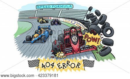 Web Page Template For Error 404. Sports Car Racing.