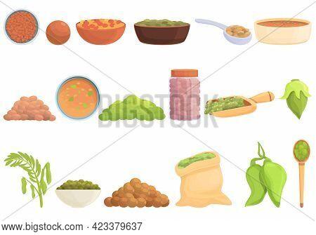 Lentil Icons Set. Cartoon Set Of Lentil Vector Icons For Web Design