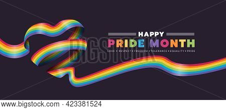 Happy Pride Month Text And Rainbow Pride Ribbon Roll Make Heart Shape On Dark Background Vector Desi