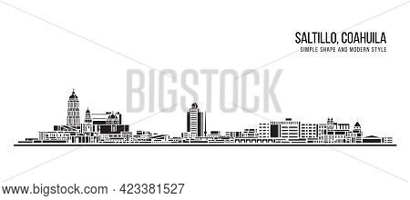 Cityscape Building Abstract Simple Shape And Modern Style Art Vector Design - Saltillo City, Coahuil