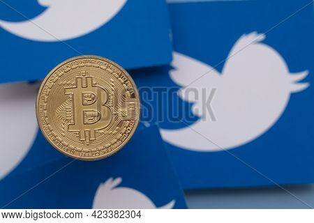 London, Uk - March 2021: Bitcoin Cryptocurrency On A Twitter Social Media Logo