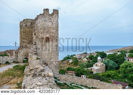 Panorama From Medieval Walls Of Genoese Fortress, Feodosia, Crimea. There Are One Of Its Towers, Chu