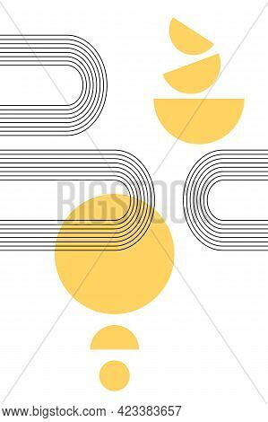 Abstract Poster With Boho Arches And Circles, Semisircles In Yellow Color. Interior Wall Poster. Ora