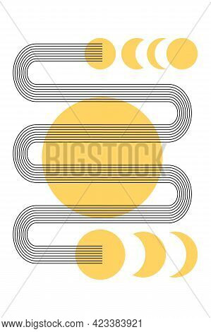 Abstract Poster With Boho Arches, Circles, Moon, Crescent In Orange Color. Interior Wall Poster. Yel