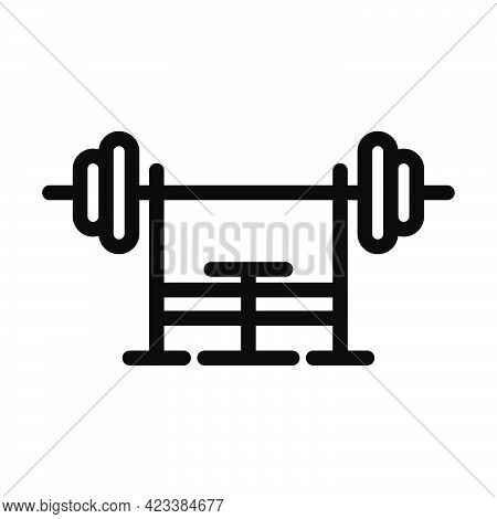 Icon Of Bench With Barbell. Bold Outline Design With Editable Stroke Width. Vector Illustration.