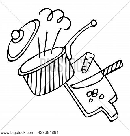 Saucepan With Lid And Handle, Steam, Knife With Cutting Board. Black Outline, Isolated On White Back