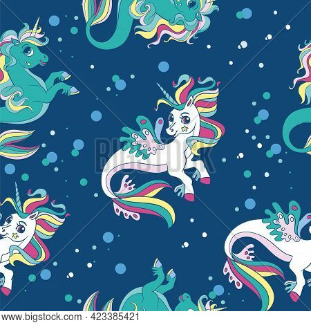 Seamless Pattern With Beauty Sea Unicorns And Bubbles On Blue Background. Vector Illustration For Pa