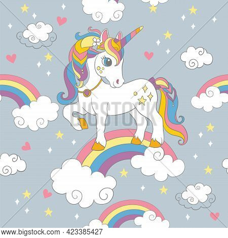Seamless Pattern With Cute Unicorn Standing On A Rainbow On Gray Background. Vector Illustration For