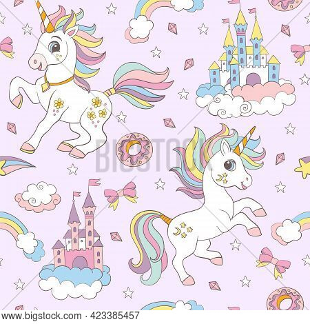 Seamless Pattern With Cute Unicorns, Castles, Sweets And Rainbows On Pink Background. Vector Illustr