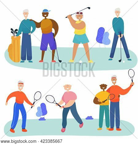 Older Men And Grandmothers Play Golf And Tennis. Friends Of Different Nationalities Spend Time Toget