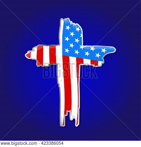 Usa Flag In Cross Shape Crucifix - Happy Independence Day July 4th Lettering Design Illustration. Go