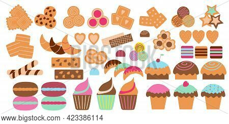 Set Of Isolated Sweets In The Form Of Cupcakes, Cookies, Sweets, Waffles, Ziphir, Marmalade, Ice Cre
