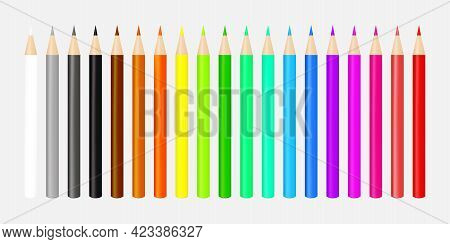 Colorful Crayon Colored Pencil Collection Vector Illustration