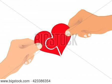 Hands Connecting Heart Jigsaw Pieces Together, Giving And Sharing Love Concept Vector Illustration